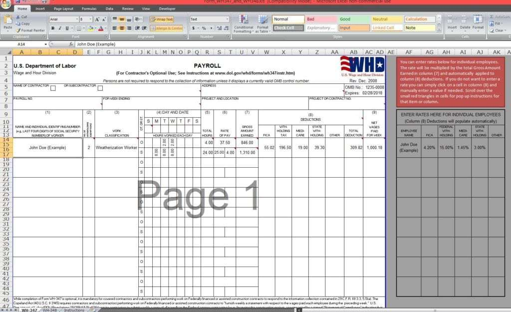 payroll sample template 13.4641