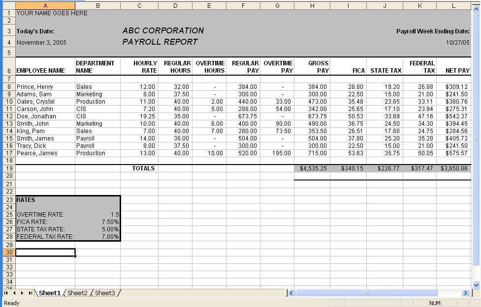 payroll sample template 4974