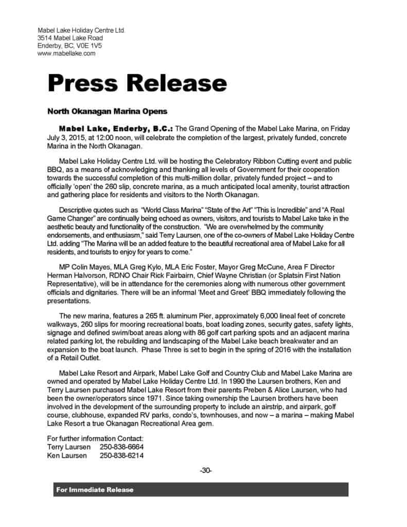 press release sample 15.461
