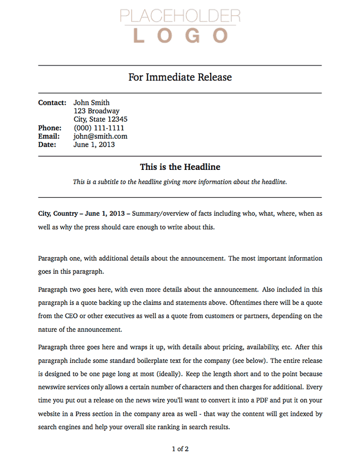 press release sample 4941