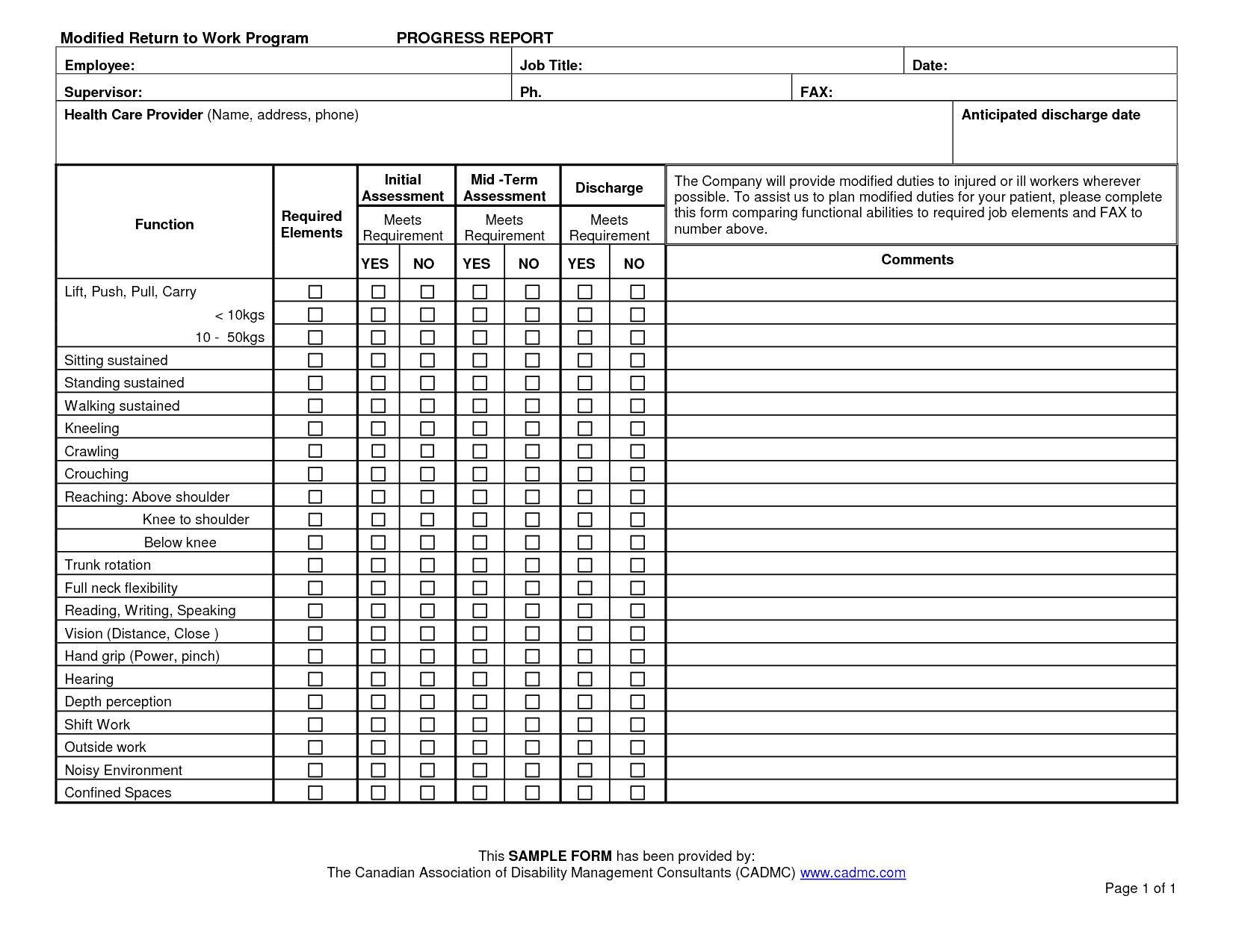 progress report sample 13.461