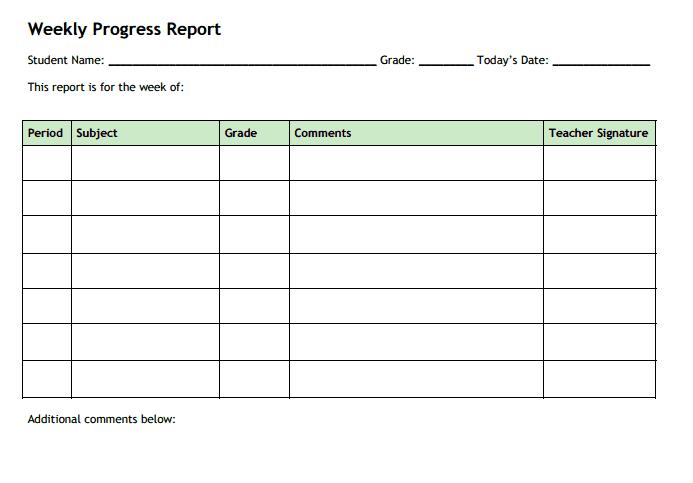 progress report sample 15.41