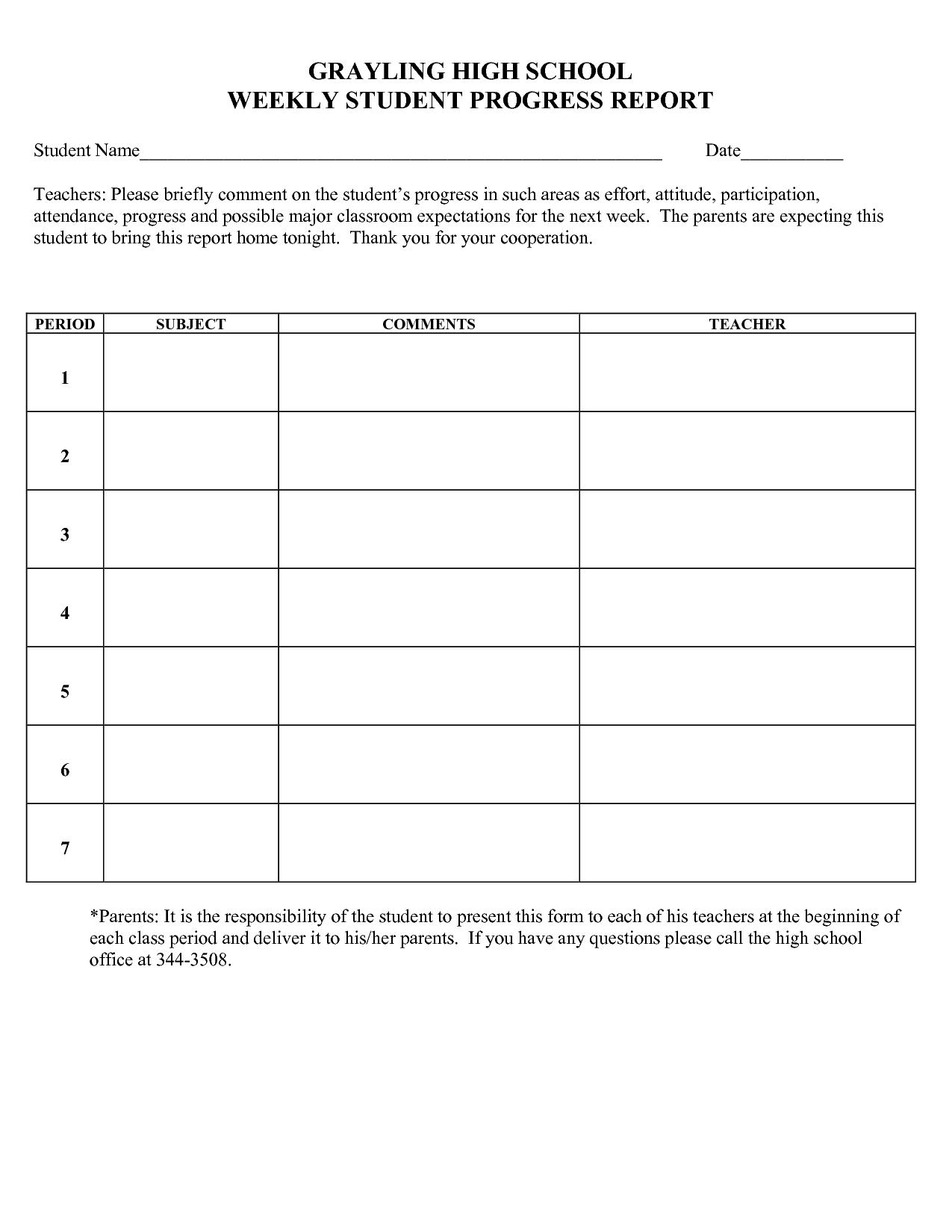 progress report sample 18.41