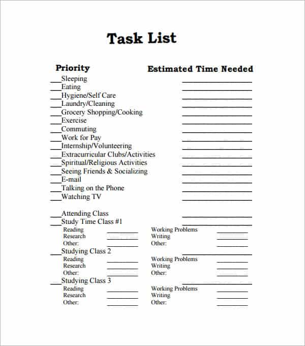Free Task List Templates In Word Excel