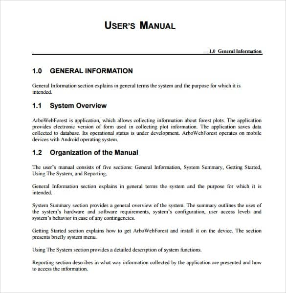 user manual sample 941