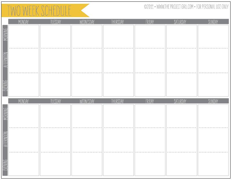 weekly schedule sample 5941