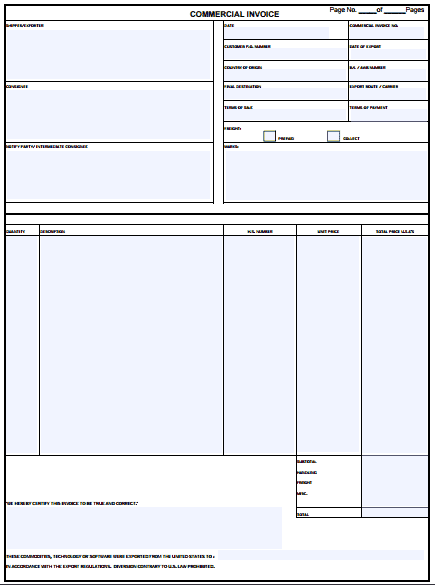 Free Commercial Invoice Template Word Excel Formats - Commercial invoice template word dollar store online