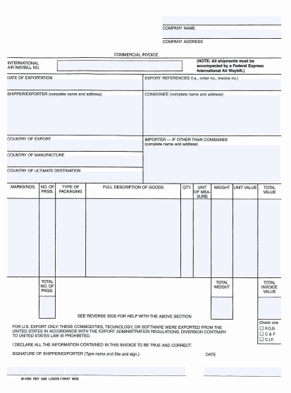 Commercial Invoice Template 5941