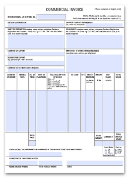 Commercial Invoice sample 11.95