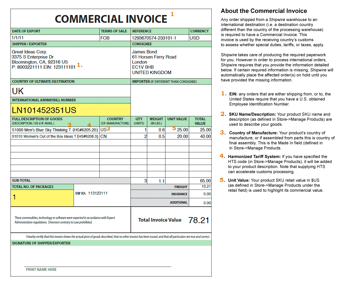 Commercial Invoice sample 3641