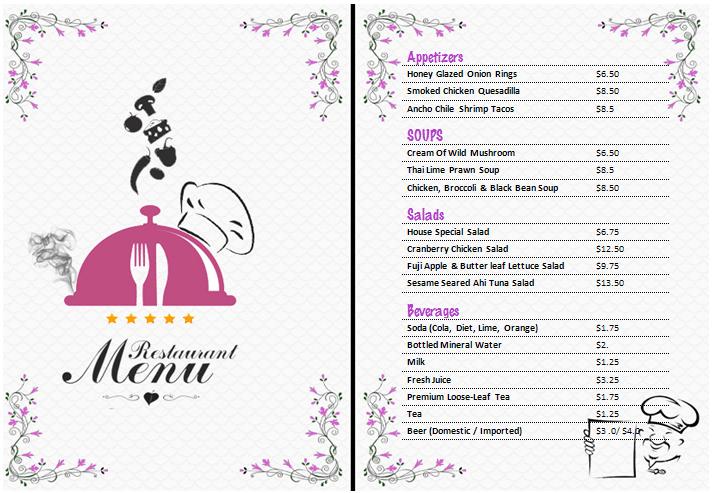 Free Restaurant Menu Templates 59641