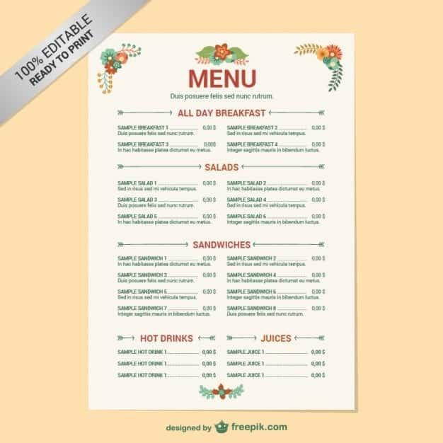 Free Restaurant Menu sample 1941