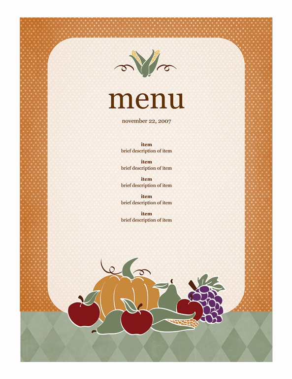free menu template for word