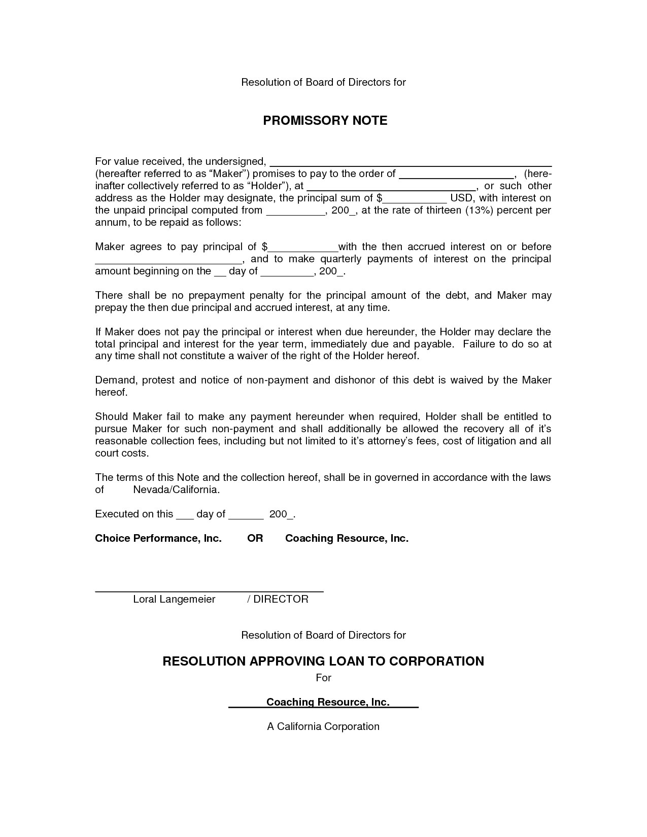 Conditional Promissory Note Template  Promissory Note Template