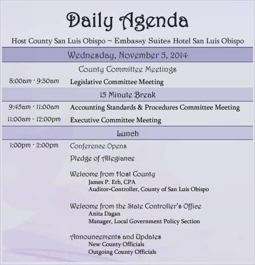 agenda sample 10.641