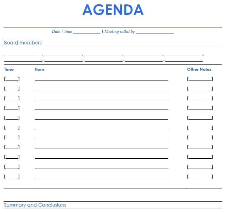 Word Excel Templates  Agenda Templates For Word