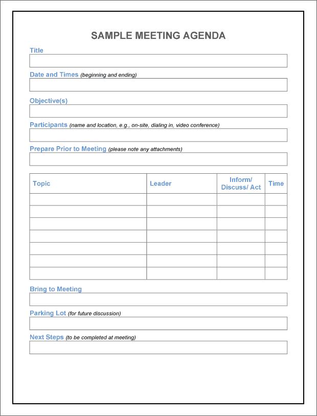 agenda sample 20.461