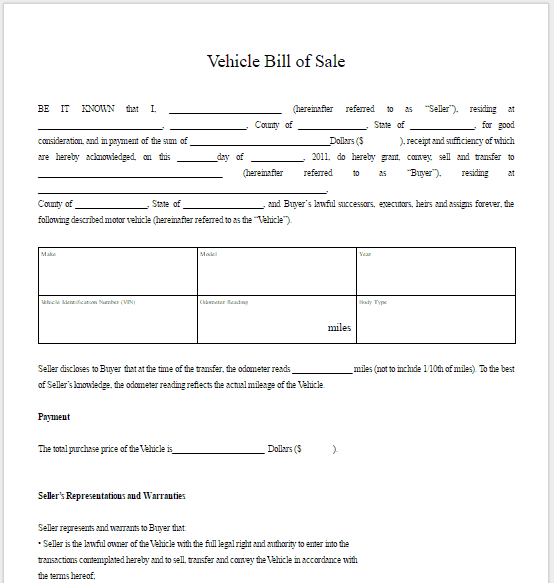 bill of sale template 3641