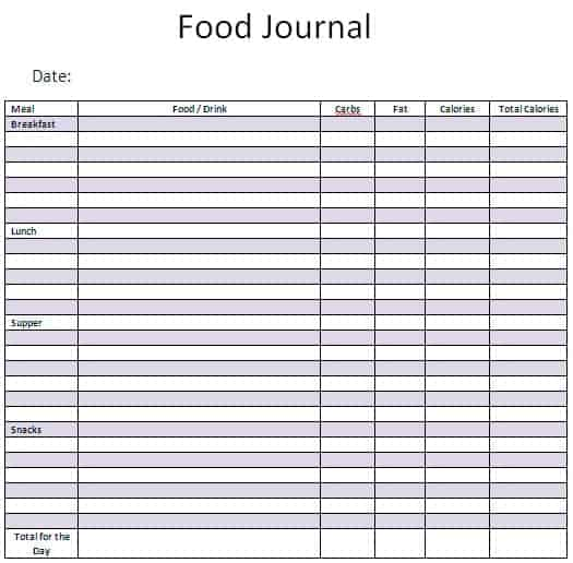 Awesome Food Journal Template Excel For Food Diary Template Free