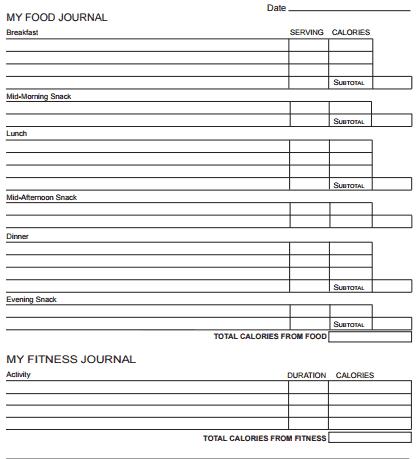 food journal template 2641