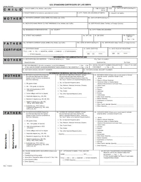 Birth Certificate Template 29641