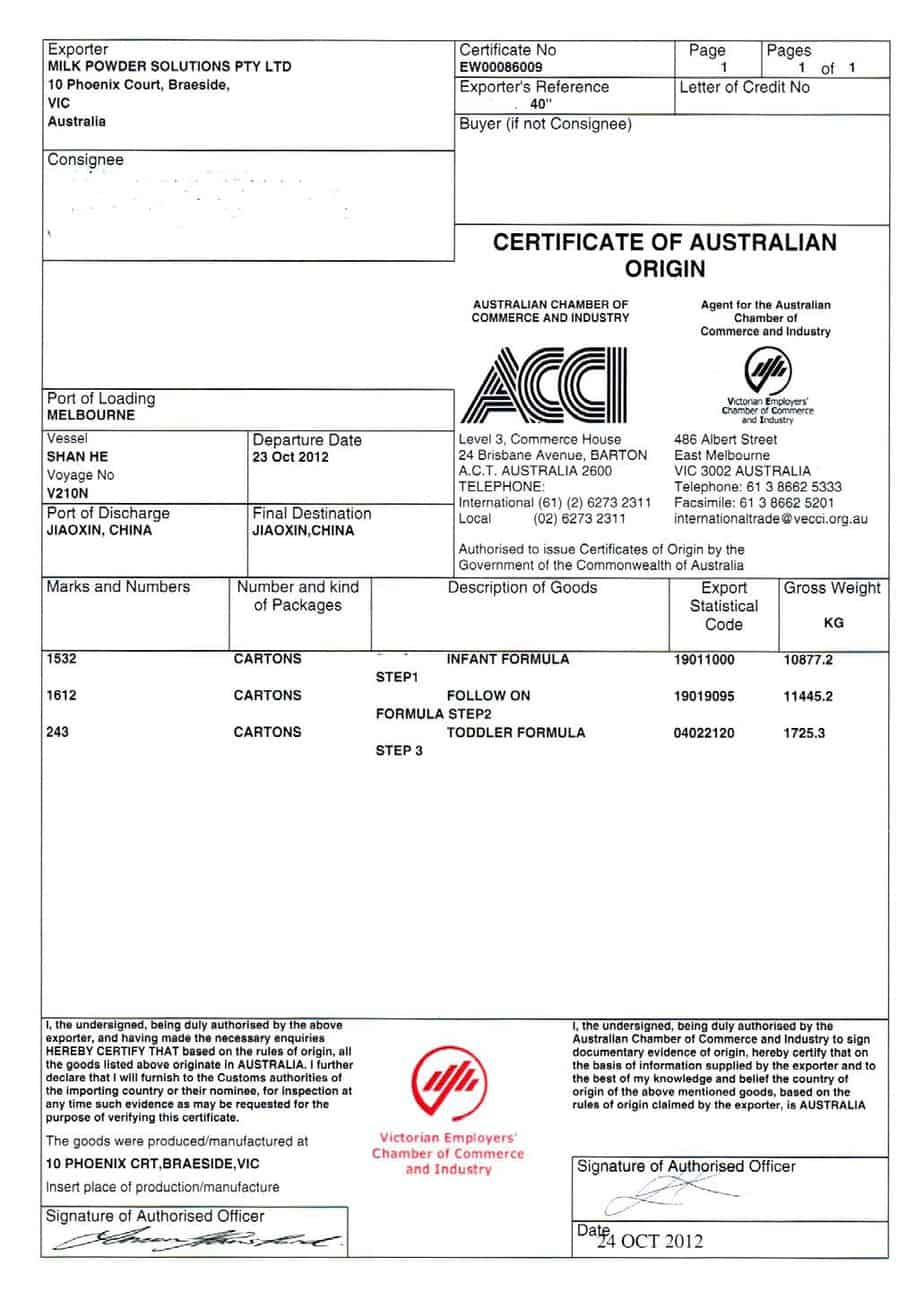Certificate of Origin example 13.941
