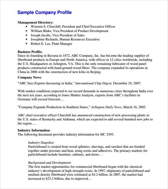 Company profile example 14.4641