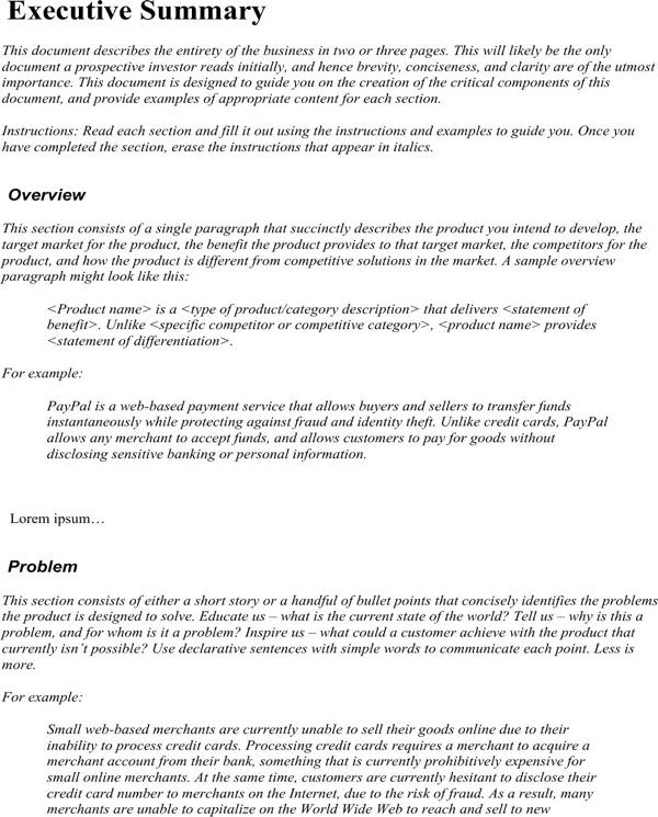 Executive Summary example 5741