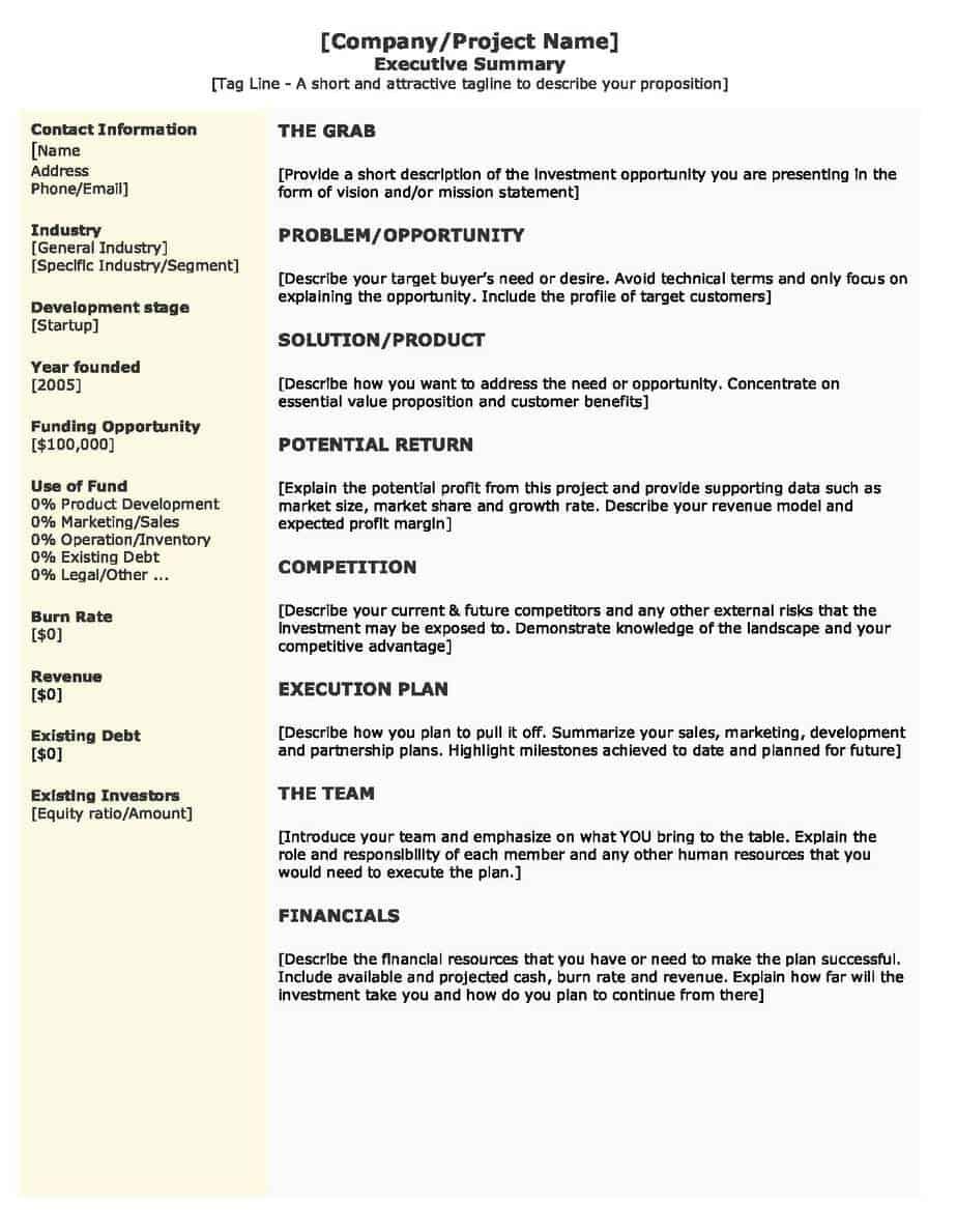 Executive Summary example 761