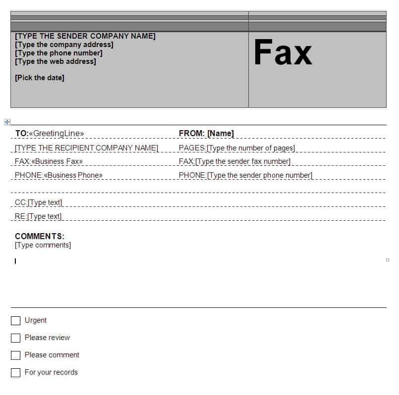 Fax Word sample 9941