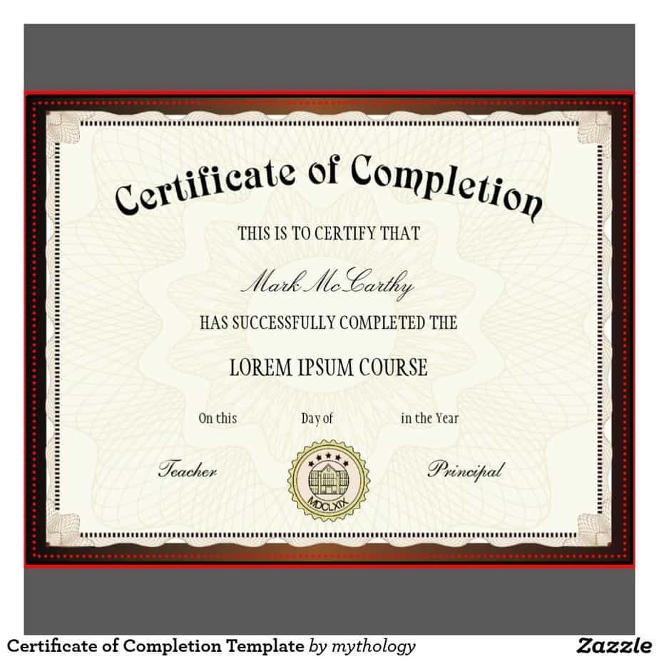 Free Certificate of Completion example 19.941