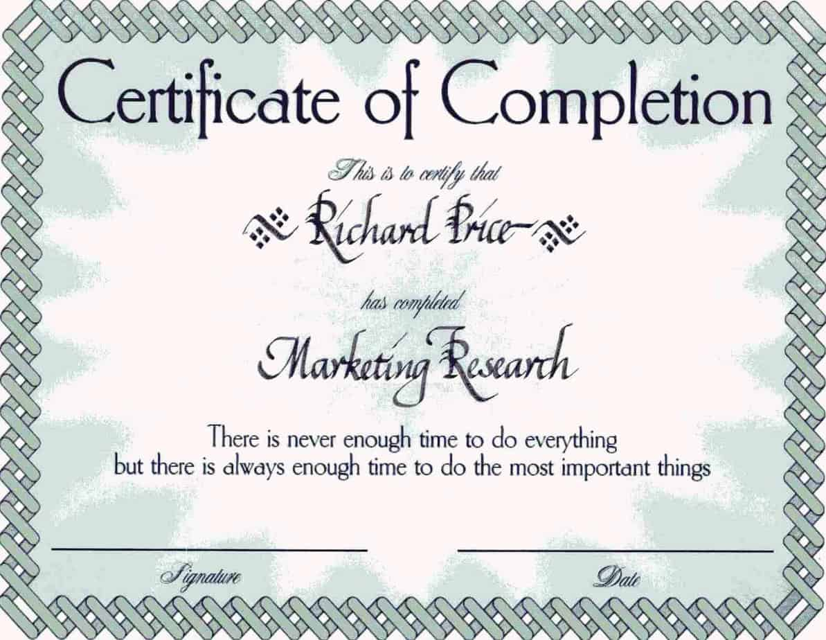Free Certificate of Completion example 9941
