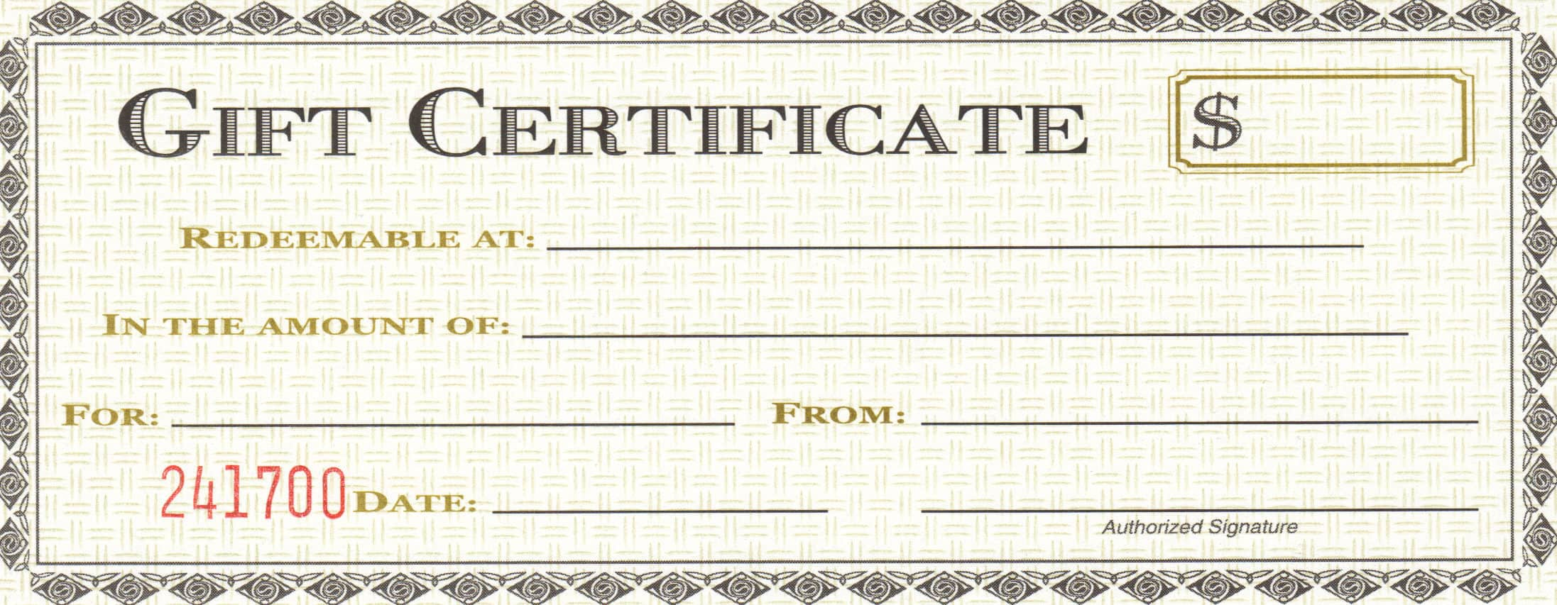 Free Gift Certificate sample 18.941