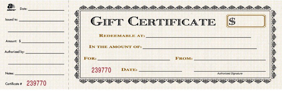 Free Gift Certificate sample 23.94