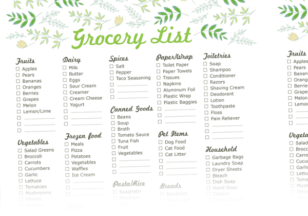 Grocery list sample 3641
