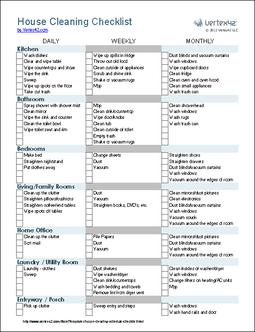 House Cleaning List Template 164