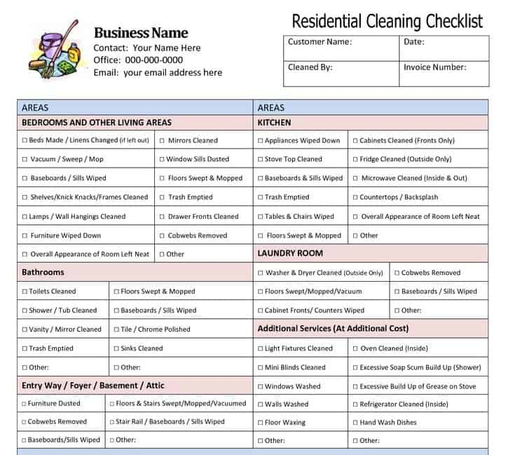 Household Chores Checklist Template Pdf Template