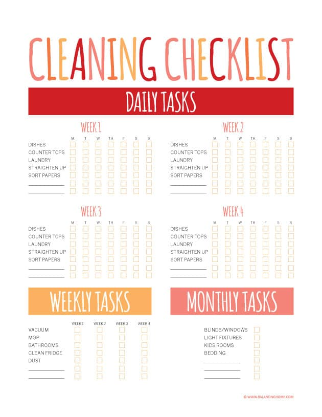 House Cleaning List example 18.9641