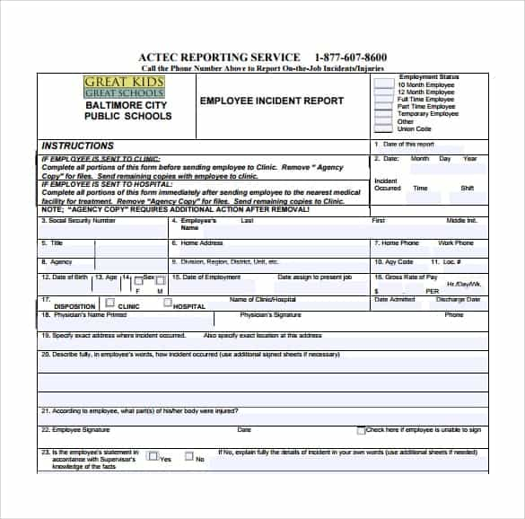 Incident Report sample 7613