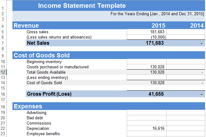 Income Statement sample 4941