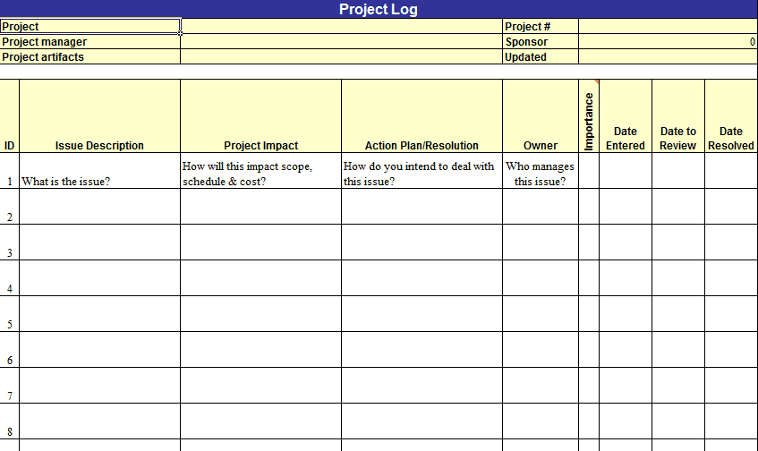 Project Log Template 1641