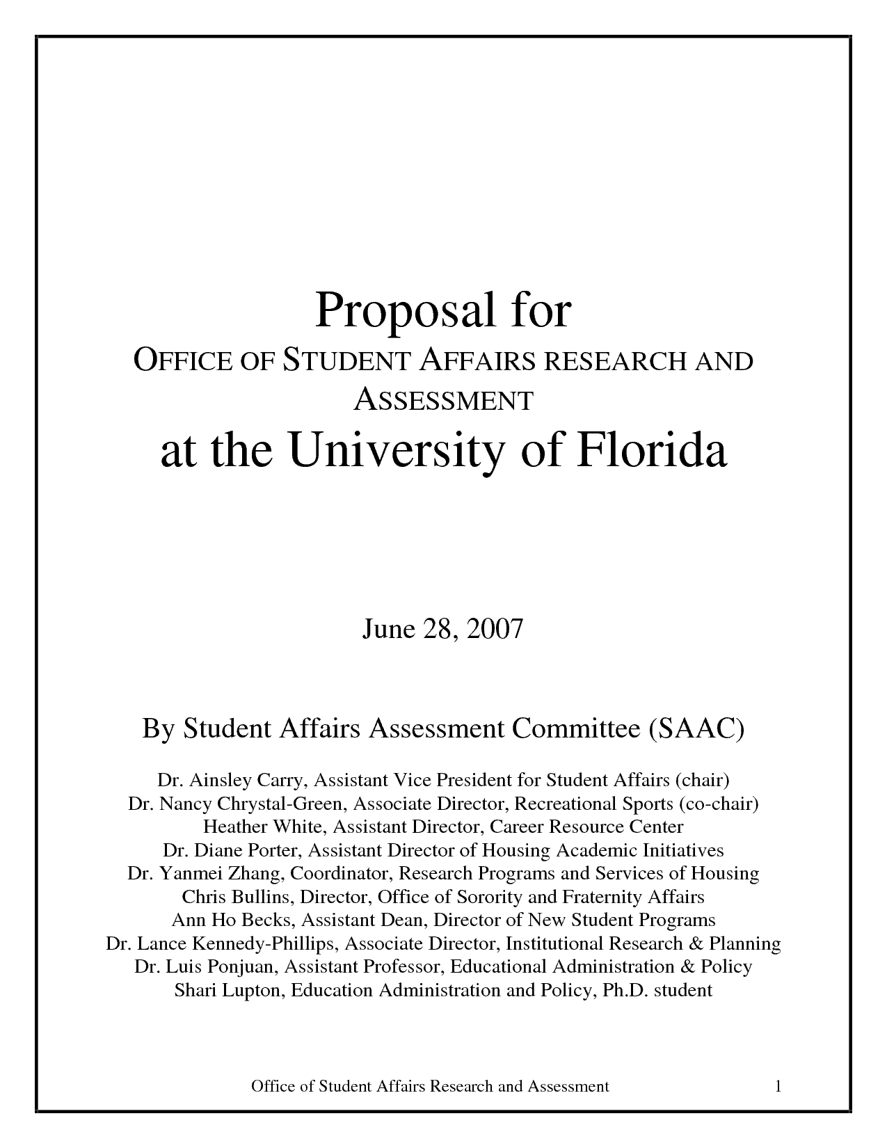 Project Proposal sample 841