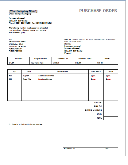 Purchase Order Templates 39641