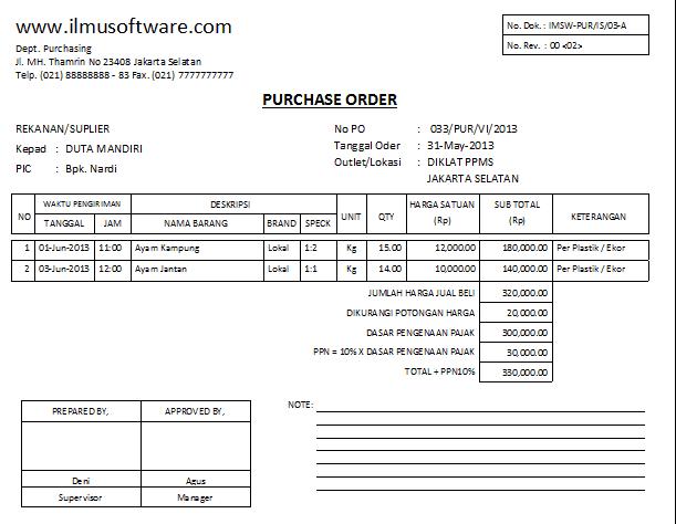 Purchase Order sample 13.461