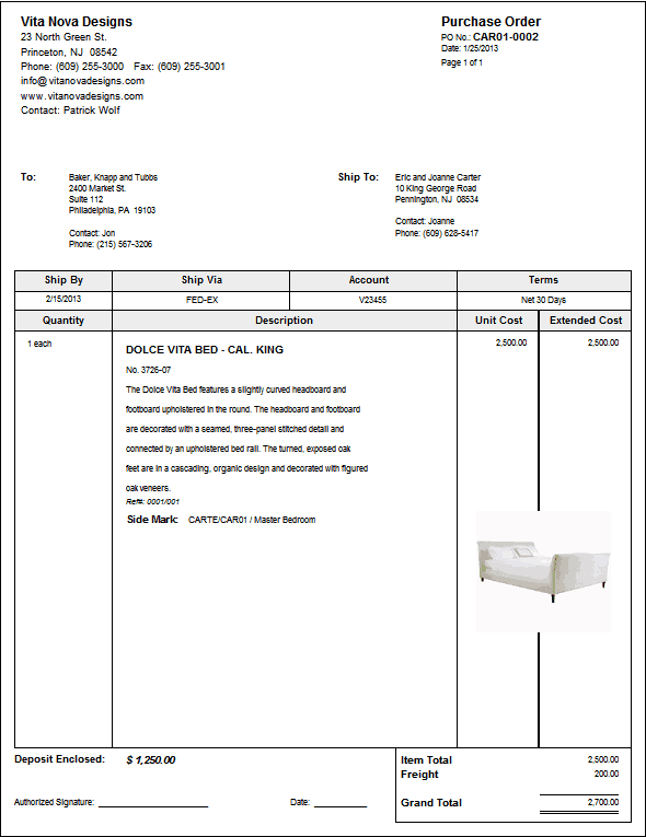 Purchase Order sample 15.6461
