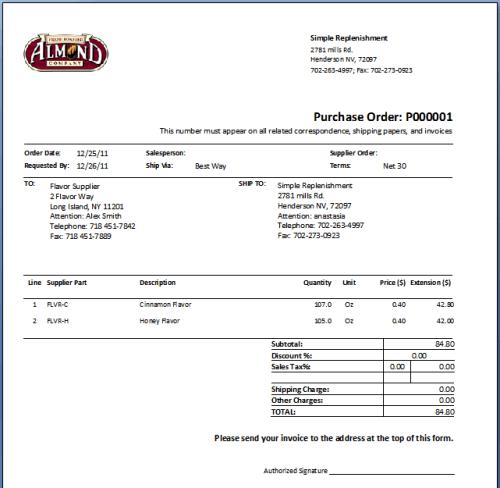 Purchase Order sample 16.941