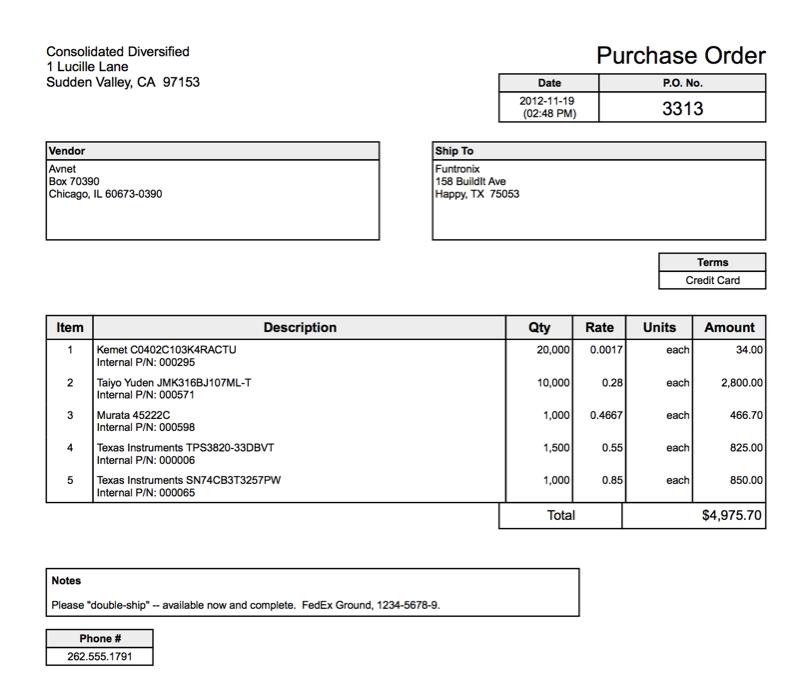 Purchase Order sample 17.613