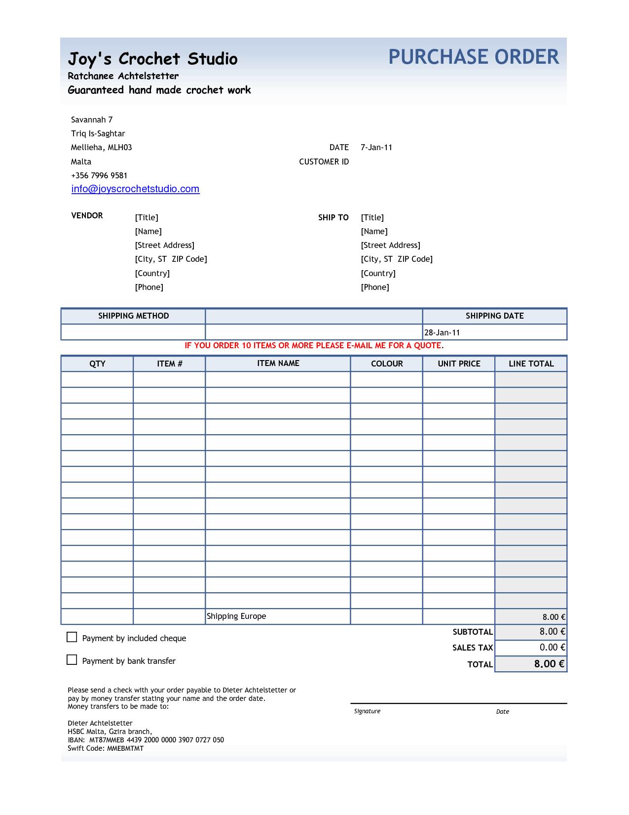 Purchase Order sample 20.13641