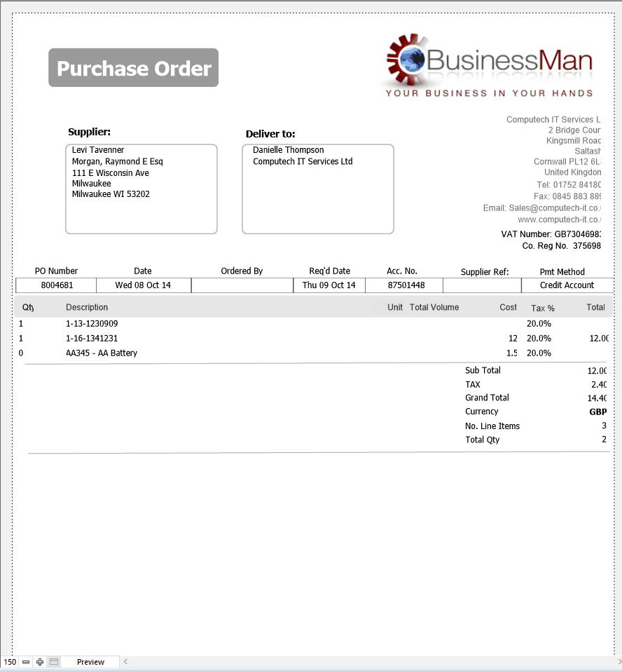 Purchase Order sample 24.641