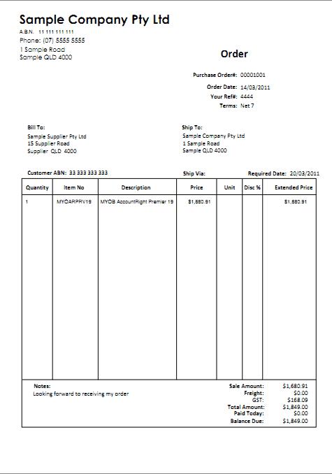 Purchase Order sample 26.1211